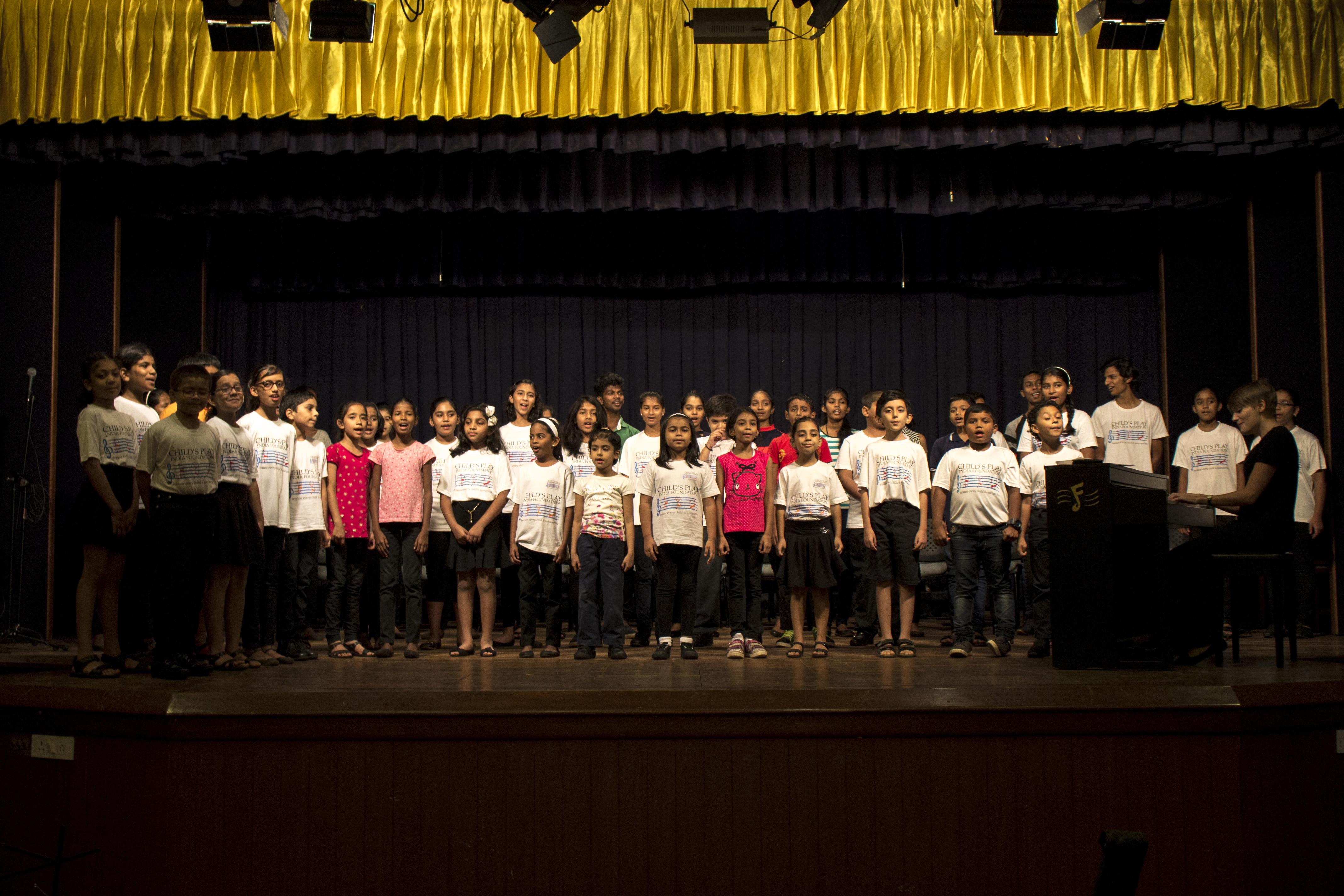Children's choir rehearsing